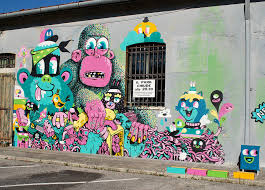 Wall Street Art Creative Murals Pop Culture Outdoor Decoration Youth Artist Freedom Expression Monster Pattern Monkey Cloud Cute