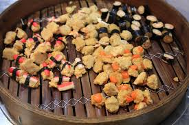 steamer cuisine dim sum in big bamboo steamer stock image image of