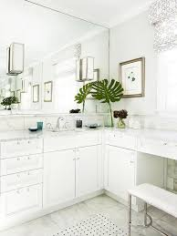 built in makeup vanity next to washstand transitional bathroom