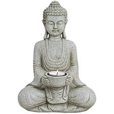 woma deko buddha figur mit teelichthalter 27cm hoch wetterfeste budhha statue als dekoration für haus wohnung garten skulptur aus polyresin