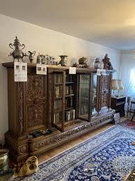 vintage vitrine kommode schrank wohnzimmer holz schnitzerei