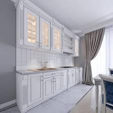 Modern White Kitchen Interior 3d Rendering Stockfoto Und Modern White Kitchen In A Classic Style Interior With White