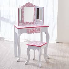 teamson kids fashion prints vanity stool set with mirror