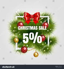 Christmas Sale Sign Vector Label 5 With Red Ribbon And Green Fir Tree Branches