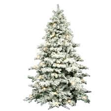 Flocked Christmas Tree 9 White Artificial With Lit And Clear Pink