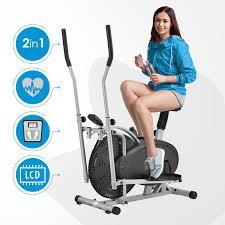 artsport 2in1 crosstrainer heimtrainer ergometer mit computer lcd display sitz und schwungrad ellipsentrainer fitnessgerät fitness