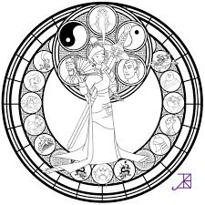 Colored Version Link More Coloring Pages And Other Stuff To Use Mulan Stained Glass Line Art