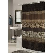 Animal Print Fabric Shower Curtain with Faux Sable Fur Trim