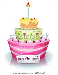 Birthday Cake Illustration of a cartoon appetizing mouth watering birthday and anniversary holidays cake