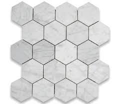 bianco honed 3 hexagon marble mosaic tile