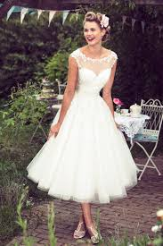 Lace Tulle Illusion Cap Sleeves A Line Rustic Tea Length Wedding Dress