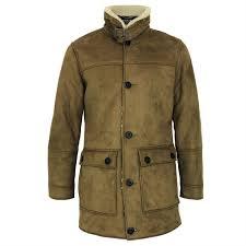 mens threadbare sherpa faux sheep wool borg fleece lined long