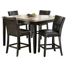 5 piece graham counter height dining table set wood chocolate