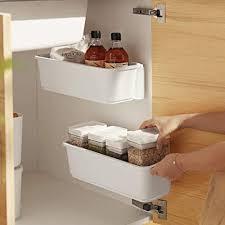 baffect 2 stk küche ausziehbarer schrank korb organizer ausziehbare kunststoff schubladen unter waschbecken schrank organizer schiebekorb schublade