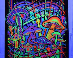 Magic Mushrooms Blacklight UV Reactive Tapestry Fabric Poster