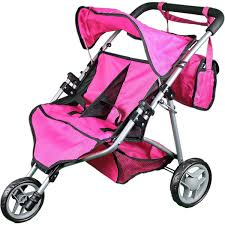 Mommy Me Twin Doll Stroller With Free Carriage Bag Hot Pink