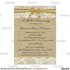 Shop Burlap And Lace With Gold Bow Anniversary Card Created By Happygotimes Find This Pin More On Rustic Wedding Invitations