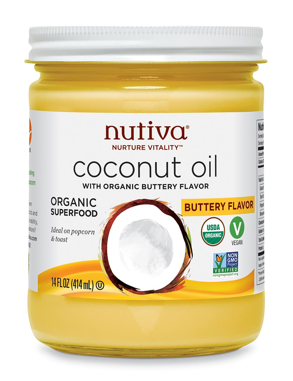 Nutiva Coconut Oil - with Organic Buttery Flavor, 14oz