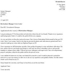 Horticulture Cover Letter