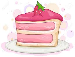 Illustration of a Slice of Cake with a Strawberry on Top Stock Illustration