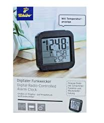tcm tchibo digitaler funkwecker mit lc display wecker schwarz temperaturanzeige