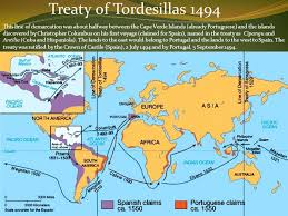 Treaty Of Tordesillas 1494 This Line Demarcation Was About Halfway Between The Cape Verde Islands