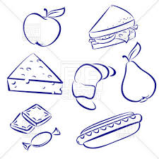 Snack Clip Art Food Outline Sandwich Fruit And Croissant Vector Image