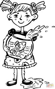 Click The Little Girl Holding Her Fish Bowl Coloring Pages To View Printable Version Or Color It Online Compatible With IPad And Android Tablets