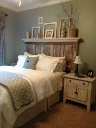 Bedroom Rustic King Size Master Design With Unusual Reclaimed Wood Headboard Under Floating Display