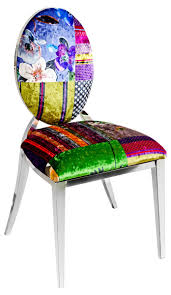 Silvia Dining Chair With Velvet Patchwork Print Fabric