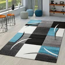 details zu teppich wohnzimmer modern nizza mit konturenschnitt in grau türkis schwarz creme