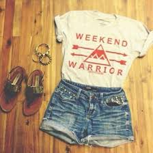 Shirt Weekend Warrior Tumblr Summer Fashion Outfits Girl Teenagers Teenage Shorts Jeans Denim