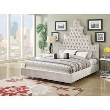 Honesty Button Tufted Upholstered Bed with Acrylic Legs Sand