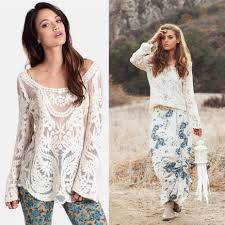 details about who will stop the rain boho cotton lace tunic