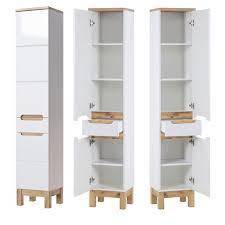 badezimmer hochschrank solna 56 hochglanz weiß mit wotaneiche b x h x t ca 35 x 187 x 33cm