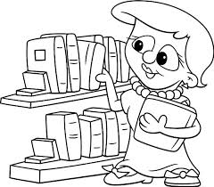Library Picking Book In The Coloring Pages