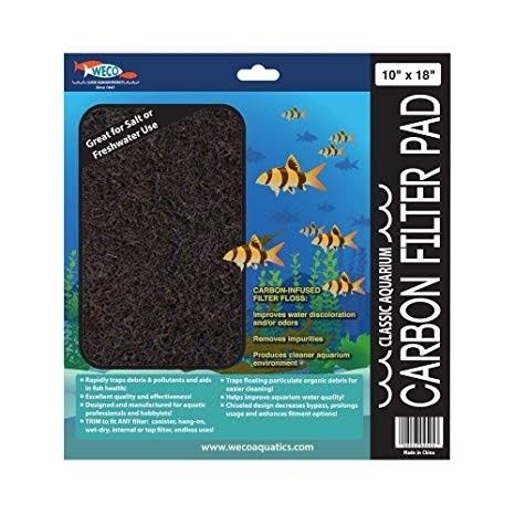 "Weco Aquarium Carbon Filter Pad - 10""x18"""