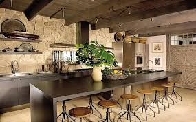 Country Rustic Kitchen Designs Best Design Idea With Long Bar Table Round Stools