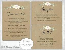 Printable Diy Wedding Invitations Rustic Invitation Templates Flowers Template Suite White