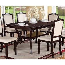 amazon com modern rectangular wood 7 pc dining table and chairs