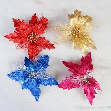 Glitter Poinsettia Christmas Tree Ornaments Hanging Ornament Drop Pendants Decorations For Home Hollow Sequins Hb016 Decor Shopping