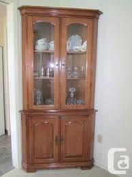 vilas solid maple corner china cabinet lighted corner glass curio