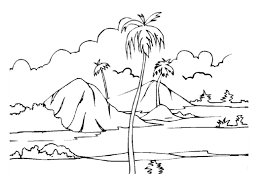 Tropical Island Coloring Page