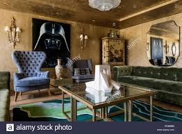 wars artwork in gold living room painting of darth