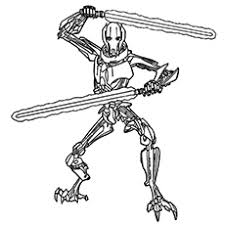 General Grievous Known For Ruthlessness And Hacking Cough From Star Wars Coloring Pages To Print