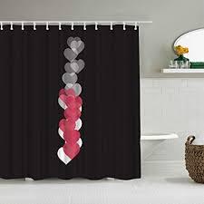 aliciga duschvorhang rot schwarz live herz auf