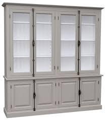 casa padrino landhausstil wohnzimmer vitrinenschrank grau weiß 223 x 50 x h 228 cm wohnzimmerschrank mit 8 türen