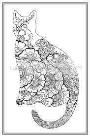 Adult Colouring In PDF Download Cat Henna Zen Mandalas Flower Anti Stress Mindfulness