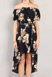 belted high low floral off the shoulder dress shop dresses at