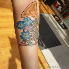 Cute French Horn Tattoo